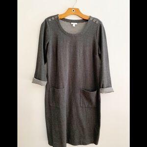 J Jill Midi Sheath Dress Gray Pockets Small